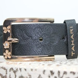 TAHARI Leather Embossed Belt w Rose Gold Buckle